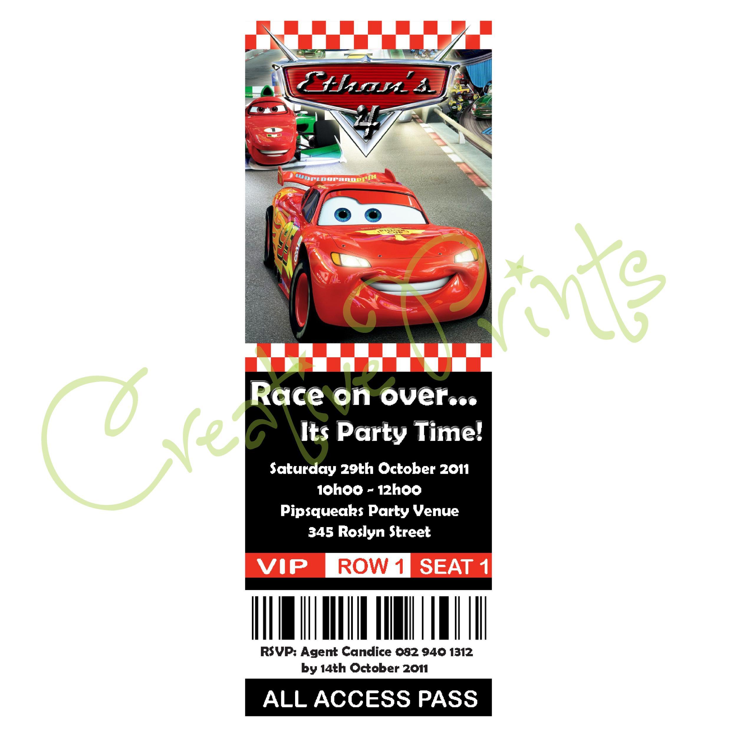 Disney Cars Party Invite | Creative Prints
