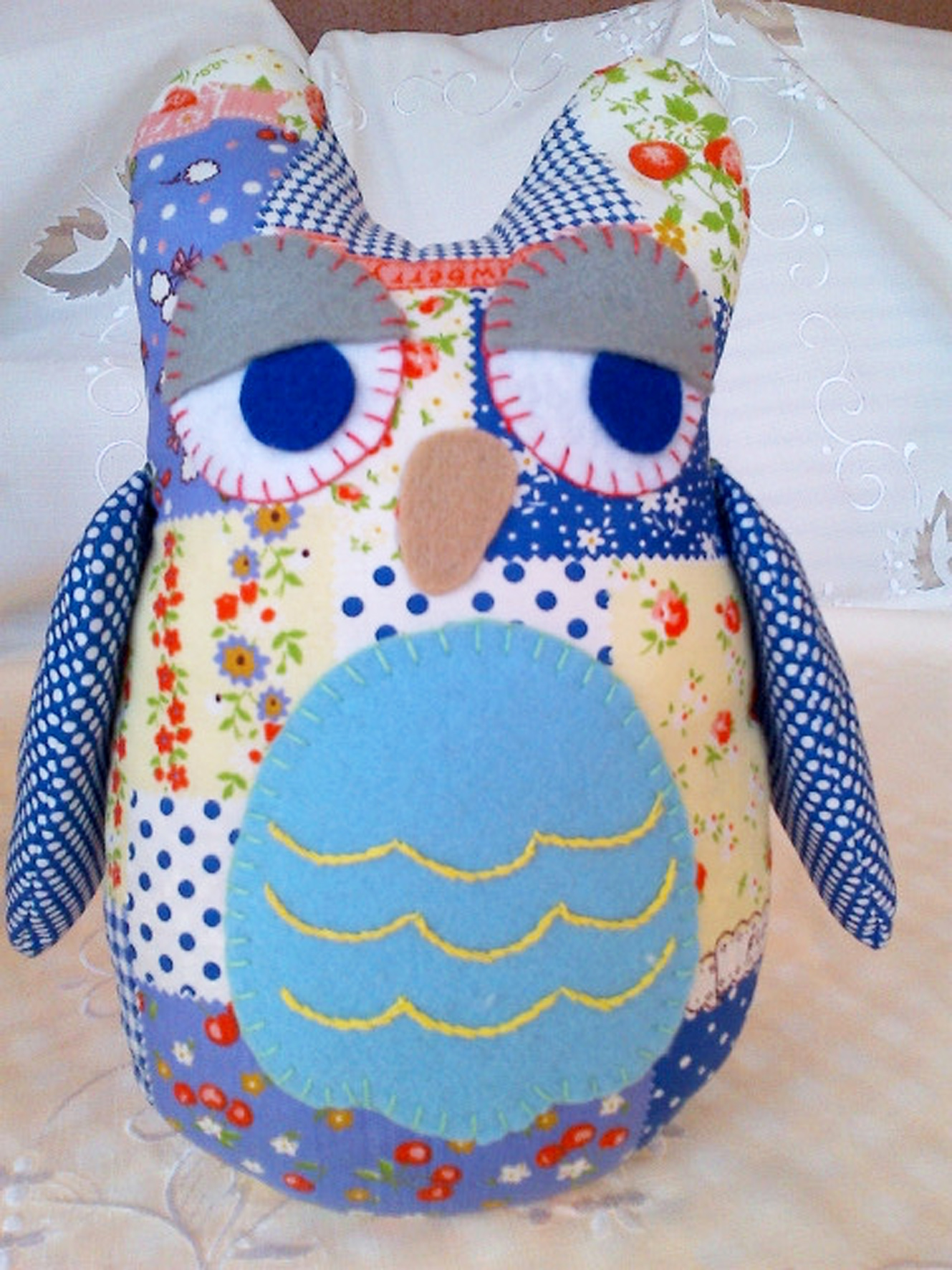 Blue Patchwork Owl