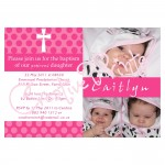 PinkPolka Dot Baptism Invite