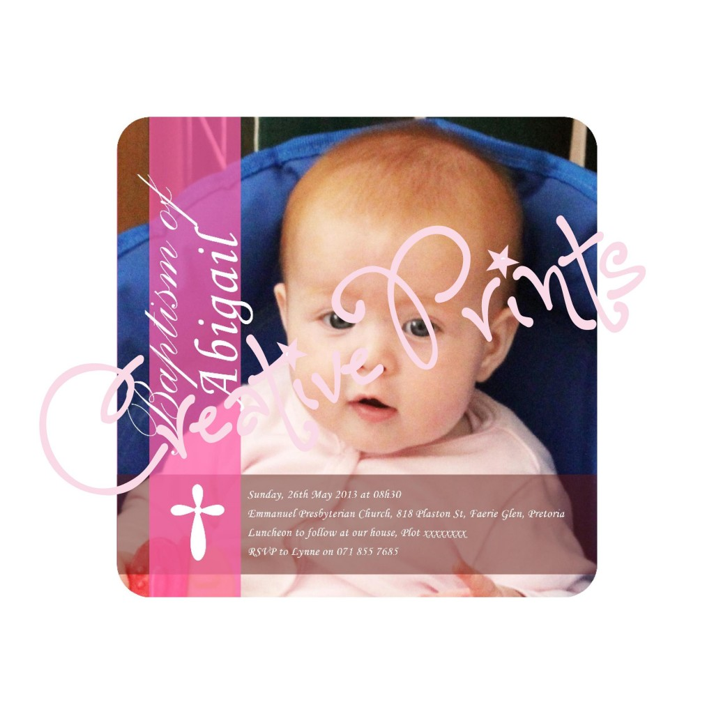 Pink and Brown Full Picture Baptism Invite