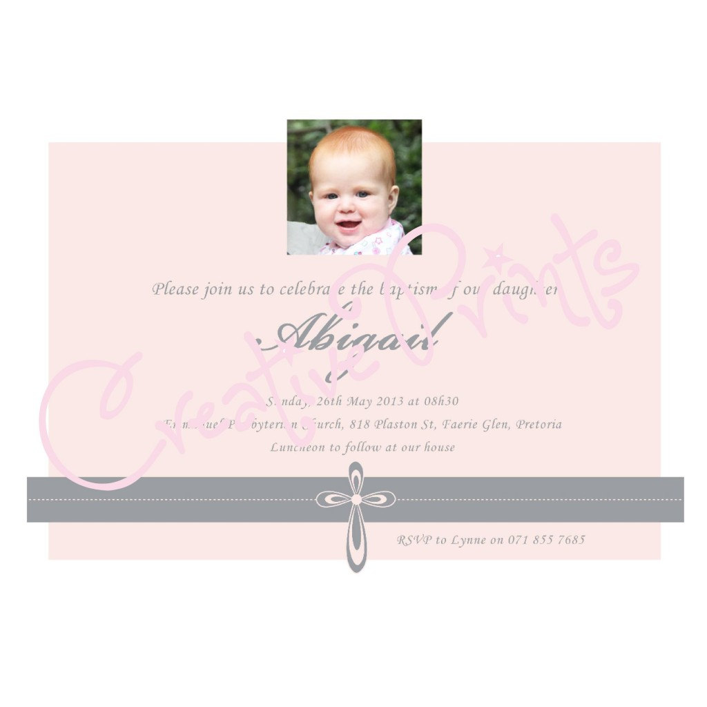 Pink and Grey Cross Baptism Invite