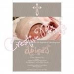 Pink and Grey Wavy Baptism Invite
