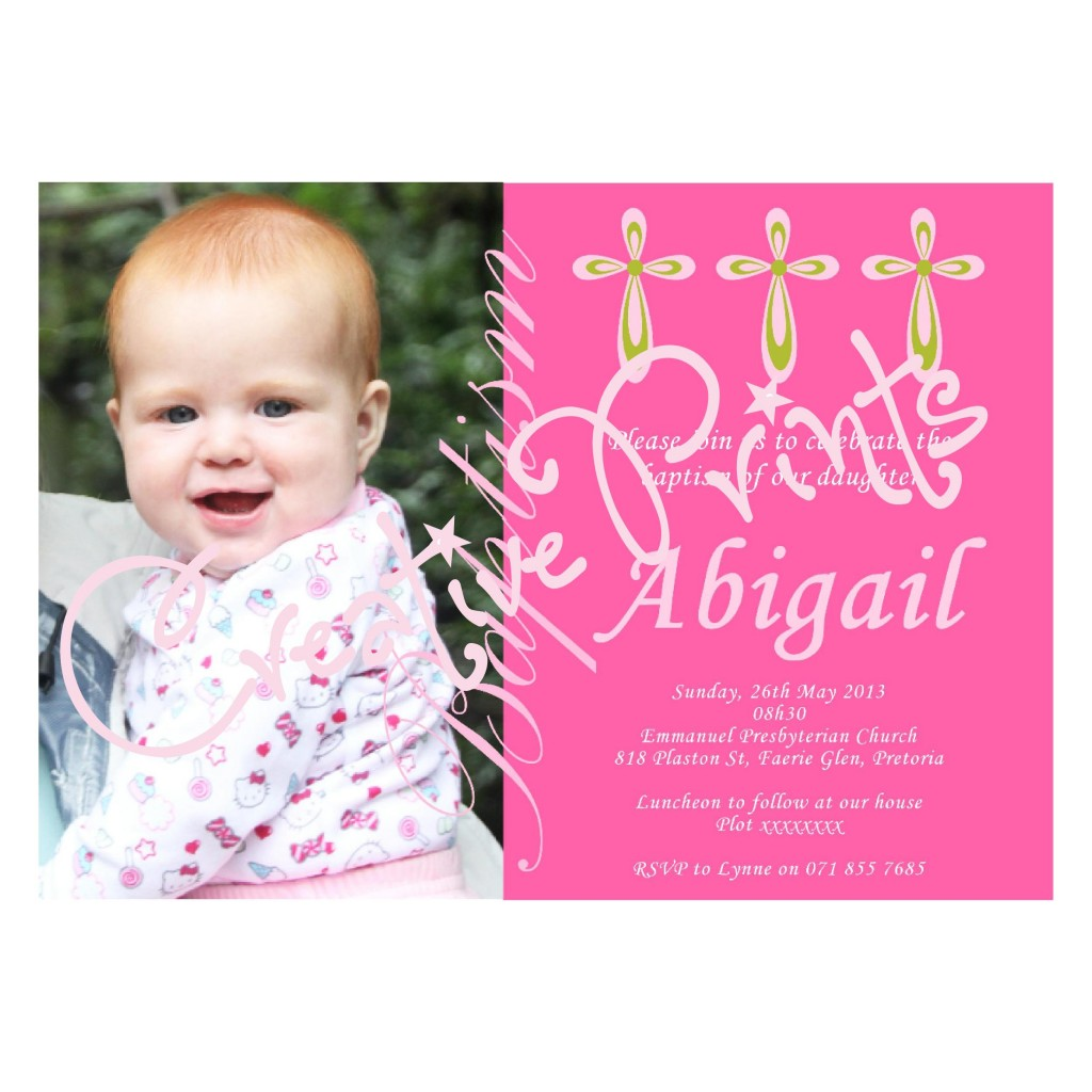 Pretty Green and Pink Baptism Invite